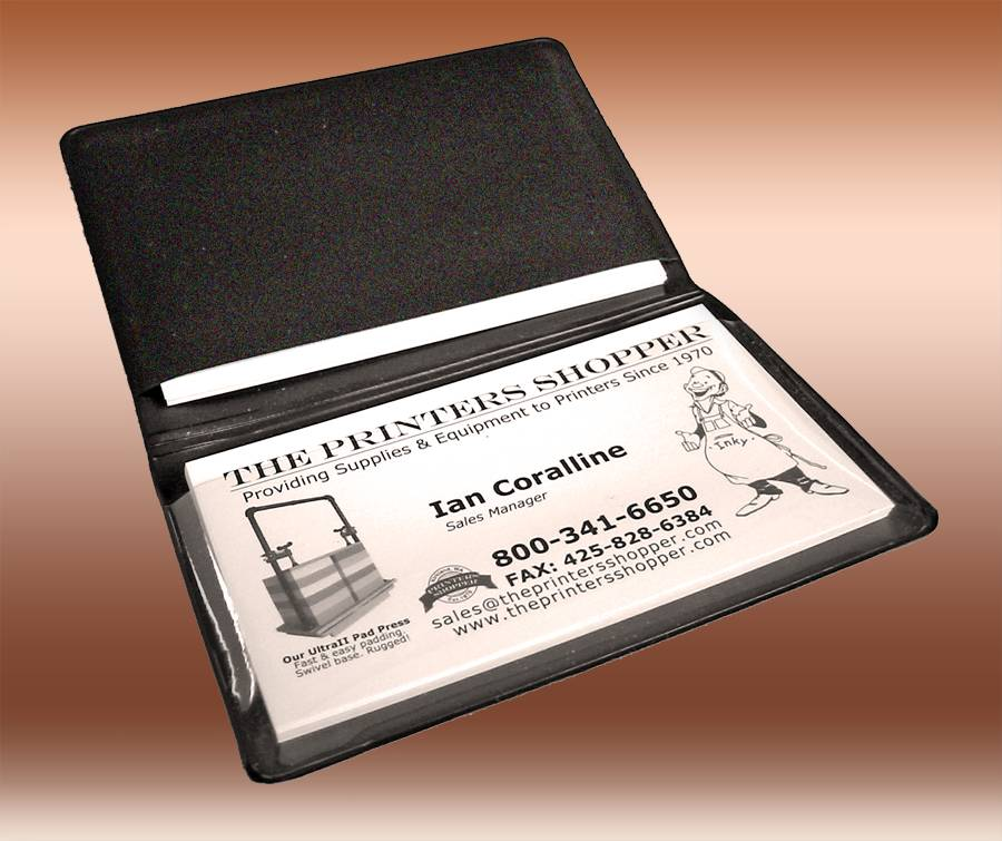 BUSINESS CARD CASES-QTY:250 Black/Clear, Double Pocket