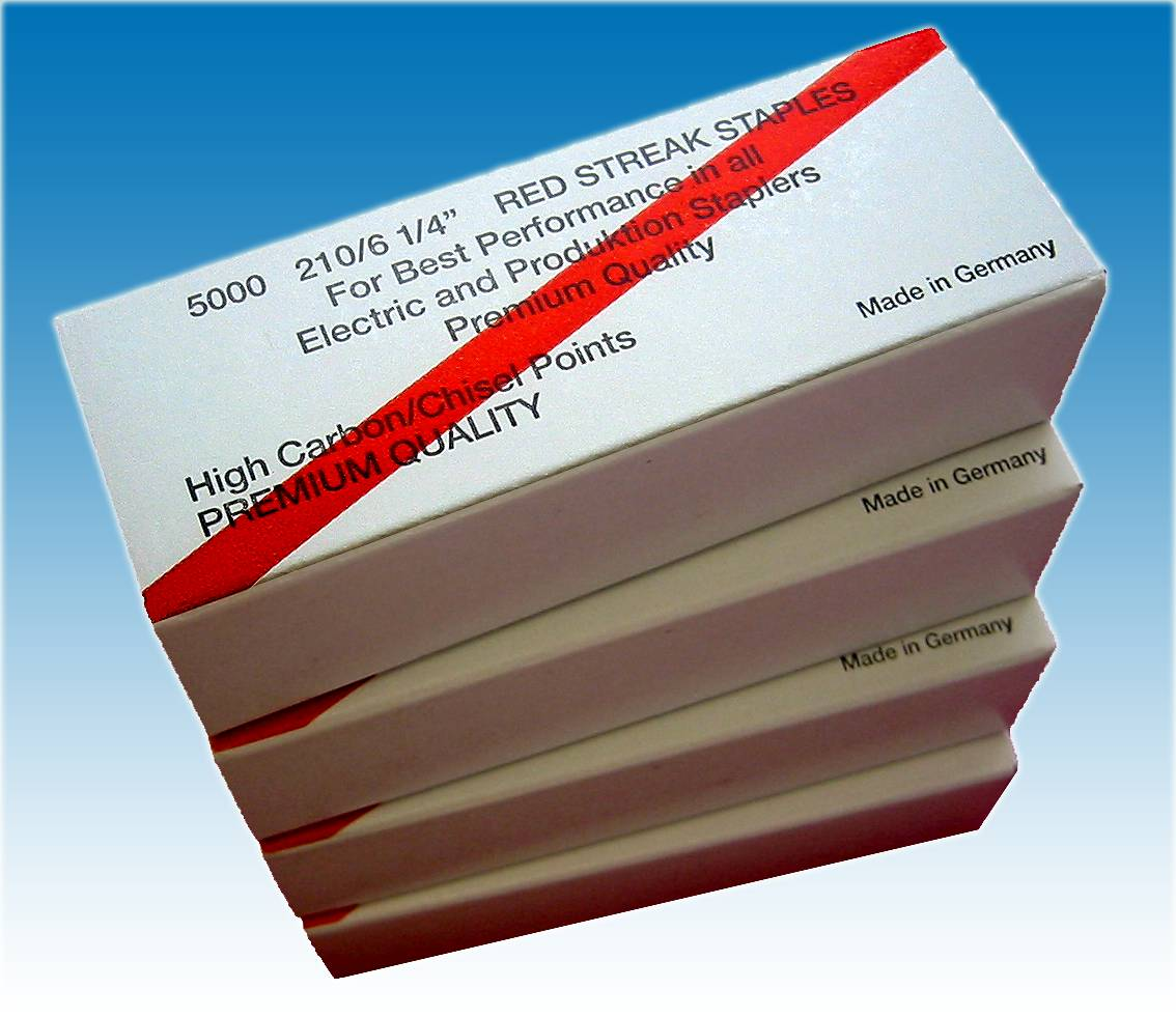 "STAPLES, RAPID 106 RED 1/4"" 5000/Box, 2 to 20 sheets"